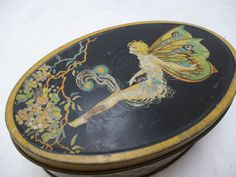 VINTAGE CHOCOLATE TIN - FAIRY BUTTERFLY DECORATION