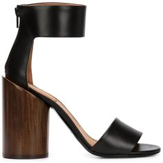 Givenchy chunky heel sandals (22.553.930 IDR) ❤ liked on Polyvore featuring shoes, sandals, black, ankle wrap sandals, thick heel sandals, ankle strap sandals, black shoes and givenchy sandals