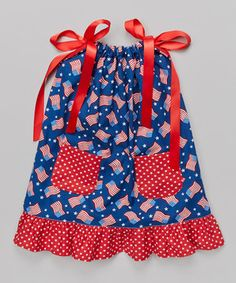 This Cozy Bug Red & Blue Flag Pocket Swing Dress - Infant, Toddler & Girls by Cozy Bug is perfect! #zulilyfinds