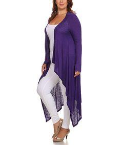 Love this Purple Hi-Low Open Cardigan - Plus on #zulily! #zulilyfinds