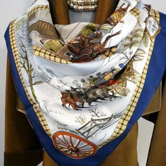Authentic Vintage Hermes Silk Scarf L'Hiver en Poste 1975 – Carre de Paris