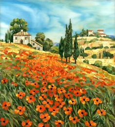 Mosaic picture Poppies of Tuscany Mosaic Garden Art, Mosaic Tile Art, Mosaic Artwork, Mosaic Glass, Collage Landscape, Landscape Paintings, Tuscany Landscape, Mosaic Pictures, Mosaic Flowers