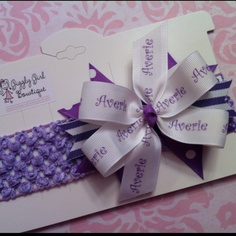 "A personalized ""Averie"" hair bow with coordinating crocheted headband! Check me out at Giggly Girl Bowtique on FB!"