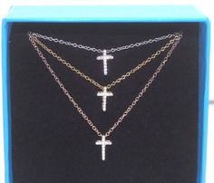 """NEW Absolute Triple Pave Cross 3-Row Tri-tone 16"""" + 2"""" Extender  Necklace .925  #Absolute #StrandString"""