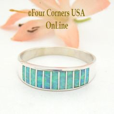 Size 13 1/2 Light Blue Fire Opal Inlay Wedding Band Ring Ella Cowboy WB-1610 Four Corners USA OnLine Native American Jewelry Wide Wedding Bands, Wedding Band Styles, Engagement Wedding Ring Sets, Alternative Wedding Rings, Native American Rings, Sterling Silver Mens Rings, Band Rings, Light Blue, Rings For Men