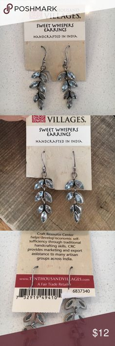 """Sweet whisper earrings Ten Thousand Villages fair trade earrings. Light Blue stone dangles. 2"""" length. Brand new. Perfect condition. Would make a great gift! Ten Thousand Villages Jewelry Earrings"""