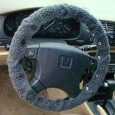 Knit Steering Wheel Cover (Medium Blue Grey) with safety rubber backing- machine washable