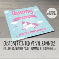 Your place to buy and sell all things handmade Custom Birthday Banners, Custom Vinyl Banners, Latex Allergy, Shower Banners, Vinyl Signs, Banner Printing, Promote Your Business, Banner Design, Your Design