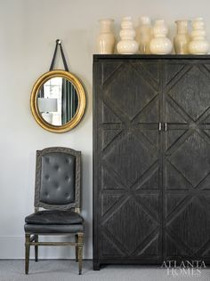 Tradition with A Twist, Amy Morris Design Rough Luxe Lifestyle love the armoire! Dark Furniture, Painted Furniture, Hutch Furniture, Home Design, Design Ideas, Atlanta Homes, Transitional House, Interior Photography, Vignettes