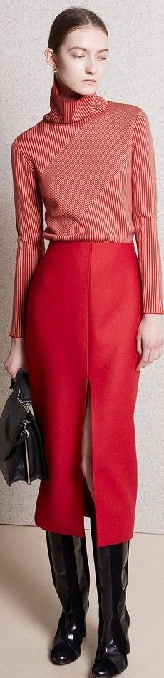 Mid-calf straight red skirt with split, coupled with red and white striped top and black patent boots - great look. Skirt Fashion, Fashion Show, Fashion Outfits, Womens Fashion, Fashion Design, Fashion Ideas, Red Skirts, Carven, Knitwear