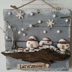 bild gestalten zu table au caillou steine bemalen häuschen #weihnachtsdeko #ideen #christmas #ideas