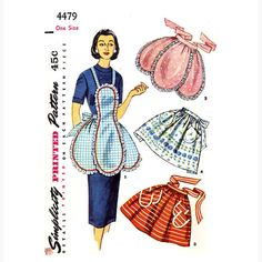 Simplicity 4479 1950s half and full apron sewing by HeyChica, $35.99
