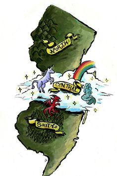 Ok I'm sorry but Central New Jersey EXISTS!!!  This is a legendary debate in NJ for those who don't understand-- we clearly exist. There is clearly a middle of NJ and we live there! VIVE LA CENTRAL JERSEY XD  (art by my lovely friend Vicky Leta!  http://doodleta.tumblr.com Look her up!!)