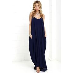 Garden Charmer Navy Blue Maxi Dress ($49) ❤ liked on Polyvore featuring dresses, blue, maxi dress, flower dress, white boho dress, blue flower dress and white bohemian dress
