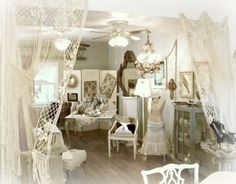 Katies Rose Cottage: The Red Shed ~ love the lace curtains framing the entrance to this antiques booth