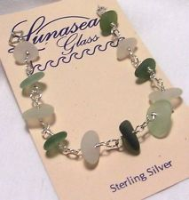 LUNASEA TREASURES GREENS WHITES DRILLED SEA GLASS STERLIN SILVER BRACELET 7 1/4""