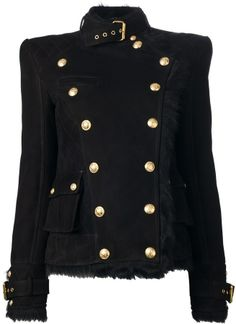 Balmain fur trim double breasted jacket on shopstyle.com