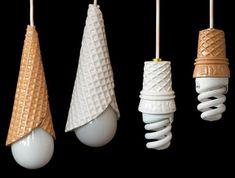 Cucuruchos de barquillo de los helados a modo de lámpara. #reutilizar // #icecream #reuse