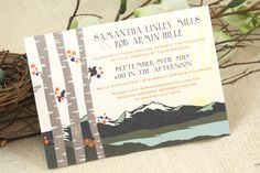 Items similar to Spring Rocky Mountains with Birch Trees Art Nouveau Wedding Invitation: Get Started Deposit or DIY Payment on Etsy Mountain Wedding Invitations, Spring Wedding Invitations, Art Nouveau, Birch Tree Wedding, Wedding Weekend, November Wedding, Fall Wedding, Wedding Color Pallet, Ceremony Programs