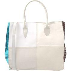 Ebarrito Handbag (550 BRL) ❤ liked on Polyvore featuring bags, handbags, ivory, leather man bags, man bag, leather handbags, white hand bags and leather tote shopper