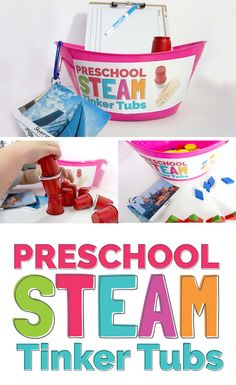 a STEM mindset with Tinker Tubs! An easy way to get started with engin.Introduce a STEM mindset with Tinker Tubs! An easy way to get started with engin. Stem Science, Preschool Science, Preschool Classroom, Preschool Learning, Preschool Ideas, Classroom Ideas, Learning Activities, Steam For Preschool, Preschool Supplies