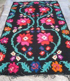 Antieke Roemeense plat geweven wol tapijt tapijt door RealRomania