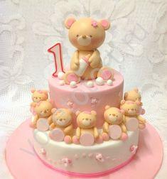 first bithday cake Torta Baby Shower, Bithday Cake, 1st Birthday Cakes, Bear Birthday, Fancy Cakes, Cute Cakes, Teddy Bear Cakes, Friends Cake, Baby Girl Cakes