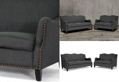 Add a classic touch and modern appeal to your living space with this contemporary sofa set featuring stylish curves on the backrest and arms, bronze nail head trim details, birch frame, black legs with non-marking feet and dark gray elegant linen-polyester upholstery to offer a higher level of comfort and beauty to you, your family and your guests. Includes one sofa and loveseat. Living Room Sets, Living Spaces, Bronze Nails, Banquette Bench, Sofa And Loveseat Set, Nail Head, Nailhead Trim, Settee, Hollywood Regency