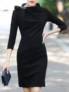 Stylewe Plus Size Stand Collar Black Midi Dress Sheath Work Dress Sleeve  Elegant Gathered Solid Dress 2adad68dd979