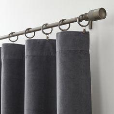 "Windsor Dark Grey 48""x108"" Curtain Panel | Crate and Barrel"