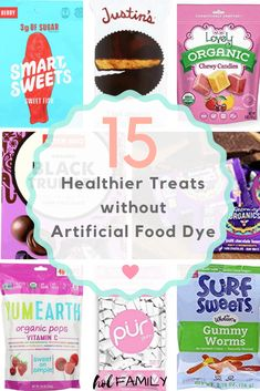 Check out 15 healthier treat options that are allergen friendly and made without artificial food dye or flavors. Perfect for life's celebrations. Healthy Candy, Healthy Treats, Healthy Packaged Snacks, Healthy Eating, Sin Gluten, Dye Free Foods, Birthday Treat Bags, Veggie Snacks, Artificial Food Coloring