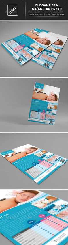 Spa A4 Letter Flyer #GraphicRiver Spa A4 / Letter Flyer. Fully editable .indd and .idml files. Fonts Used: Quicksand – Link Here PaintyPaint – Link Here Nexa – Link Here The font used in the item preview is Gotham. Images not included. InDesign CS4 + (IDML file) InDesign CS6 (INDD file) A4 Size Letter (8.5'' x 11'') Bleed CMYK Easy to edit Ready for print Woman at a Spa by andresrphotos – Link Here Spa treatment for female hands by valuavitaly – Link Here Facial Mask by SimpleFoto – Link…
