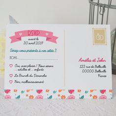 COUPON REPONSE mariage recto/ verso avec motif floral  Coupon