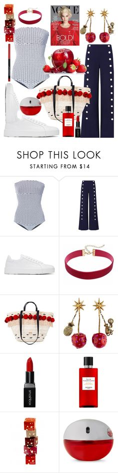 """Apples, Strawberries & Cherries🍎🍓🍒"" by mdfletch ❤ liked on Polyvore featuring ONIA, Tory Burch, Jil Sander, Gucci, Smashbox, Hermès, DKNY, Maybelline and applesstrawberriescherries"