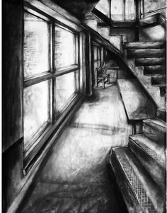 interior detailed and toned drawing