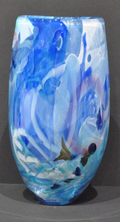 Susan Rankin - Shard Vase - open form - blues | Painting Blown glass, layered shards with cane drawings   8 x 4.25""