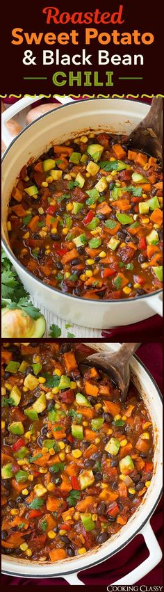 Roasted Sweet Potato and Black Bean Chili - SO GOOD! Didn't even miss the meat!
