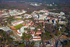Overhead view, Emory University Campus, Atlanta, Georgia