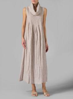 Linen Sleeveless Cowl Neck Long Dress Two Tone Sand