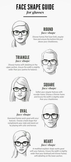 Face Shape Guide for Glasses- always chose eyeglasses that compliment your face shape. If you have a square face, wear softer more rounded eyewear. If round face, square glasses compliment. Also, the top of the brow should fall just above the eyewear Frames For Round Faces, Glasses For Round Faces, Glasses For Your Face Shape, Oval Faces, Square Faces, Square Face Glasses, Glasses Heart Shaped Face, Cheap Ray Ban Sunglasses, Luxury Sunglasses