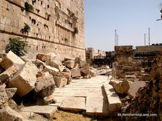 Robinson's arch area of temple and street below built by Herod , Jesus would have walked on these very stones.