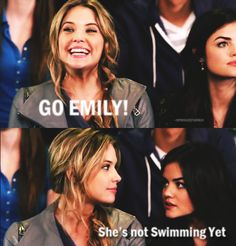 pretty little liars funny | mar 2011 pretty little liars emily aria hanna swimming lol funny tv ...