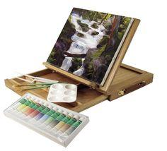 Wood Table Easel Acrylic Paint Set Art Supplies Artist Painting Portable Kit New #ArtAdvantage