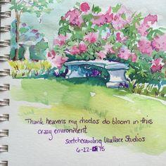 Watercolor sketch, garden bench, rhododendrums