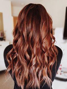 Red hair balayage beachy waves hairstyle by Olivia Halpin