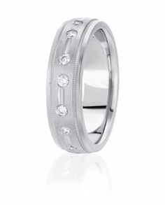 Diamond Edge Design Wedding Band With Flush Set Round Brilliant Diamonds Accented By Milgrain