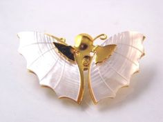 Vintage Gold Tone Genuine Mother of Pearl Butterfly Pin Brooch