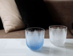 Pink collection   Hand-cut crystal glass in clear and blue colorway. Rückl Contemporary. Designed by Rony Plesl Feather, Contemporary, Crystals, Glass, Interior, Pink, Handmade, Blue, Collection