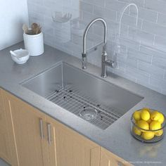 Kraus Combo with Handmade Undermount Stainless Steel 30 Bowl 16 Gauge Sink and Nola Single Handle Flex Commercial Kitchen Faucet with Soap Dispenser in Chrome Kitchen Sink Strainer, Apron Sink Kitchen, Single Bowl Kitchen Sink, Kitchen Sets, Kitchen Storage, Commercial Faucets, Commercial Kitchen, Ikea, Kitchen Sink Accessories