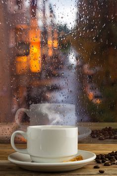 Cup of strong coffee on the rainy window background - Cup of strong coffee on the rainy window background. Morning cup of strong coffee. View through window in rainy day. Rainy Day Photography, Window Photography, Coffee Photography, Rain And Coffee, Coffee Love, Coffee Art, Rainy Window, Cafe Window, Rain Wallpapers